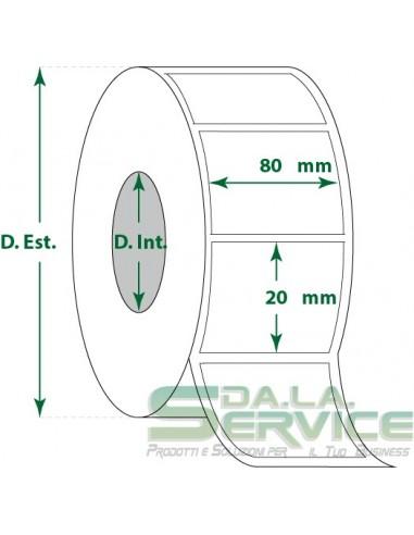 Etichette adesive in rotoli - f-to. 80X20 mm (bxh) - Termica