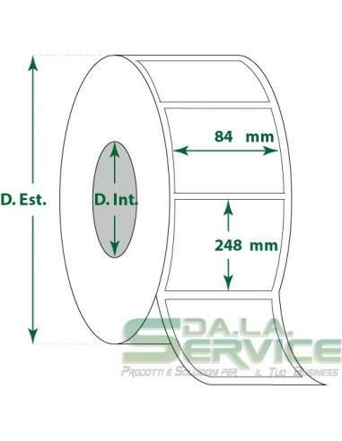 Etichette adesive in rotoli - f-to. 84X248 mm (bxh) - Termica