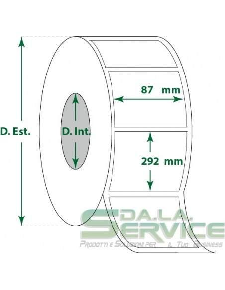 Etichette adesive in rotoli - f-to. 87X292 mm (bxh) - Termica