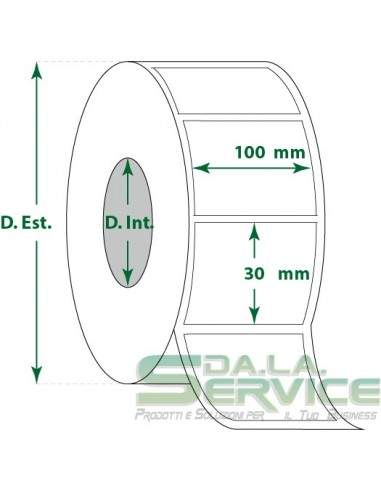 Etichette adesive in rotoli - f-to. 100X30 mm (bxh) - Termica
