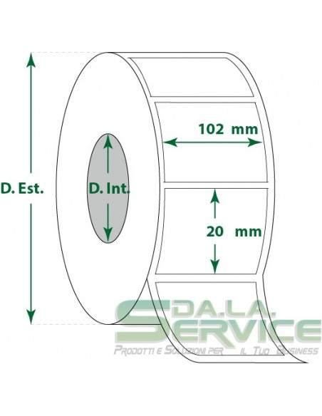 Etichette adesive in rotoli - f-to. 102X20 mm (bxh) - Termica