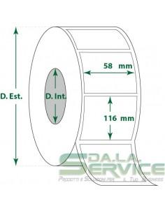 Etichette adesive in rotoli - f-to. 58X116 mm (bxh) - Vellum