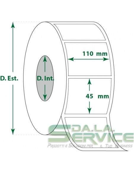 Etichette adesive in rotoli - f-to. 110X45 mm (bxh) - Vellum