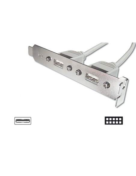 Pannello Slot Con 2 Connettori Esterni Usb 2,0 Tipo A, Femmina - Connettori Interni Alla Piastra Madre 2X5 Pin 2,54 Mm