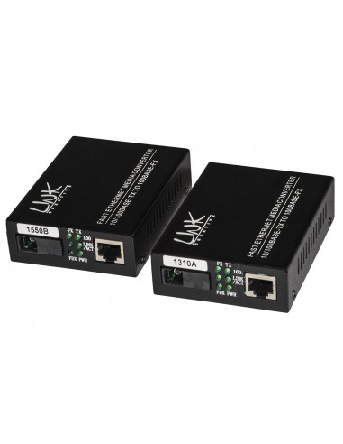 Coppia Media Converter 10/100Base-T A 100Base-Fx Singlemode Wdm Singola Fibra Bidirezionale 1310/1550Nm