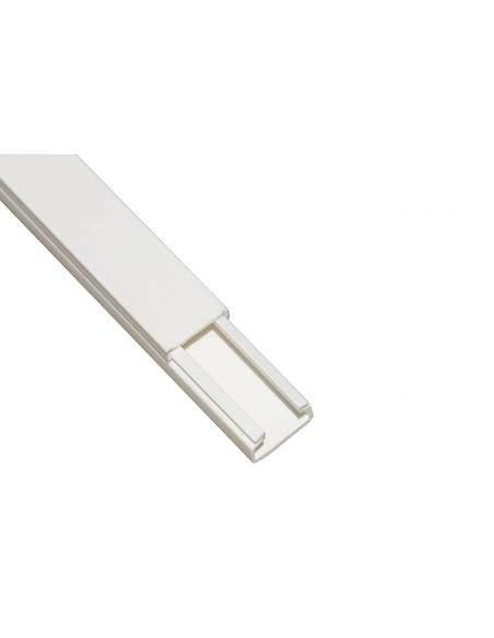 Canalina Passacavi Adesiva In Pvc Mm 15X10 Mt 2 Con Coperchio Scorrevole Bianco