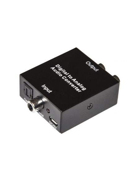 Convertitore Da Audio Digitale Toslink + Coassiale A Analogico Rca R/L + Connettore Audio 3,5Mm