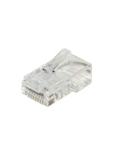 Confezione 100 Connettori 8 Poli Cat 5E Utp Non Schermato Rj45 Con Fori Per Agevolare Inserimento Cavi