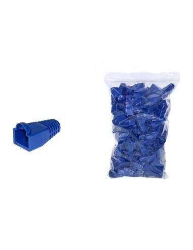 Confezione 100 Copriconnettori 6Mm Per Plug Rj45 8 Poli Cavo Cat 5E- 6 Blu