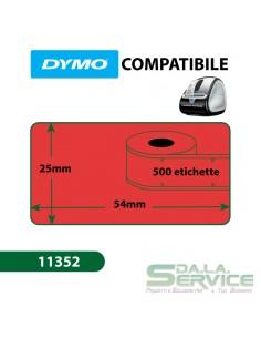 Etichette Compatibili Dymo LabelWriter - permanenti - 54x25 mm - rosso - S0722520 11352 (pz.1x500)