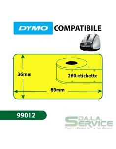 Etichette Compatibili Dymo LabelWriter - permanenti - 89x36 mm - giallo - S0722400 99012 (conf.1x260)