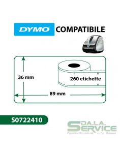 Etichette Compatibili Dymo LabelWriter 99013 - 89x36 mm - trasparntee- S0722410 (pz. 1x260)