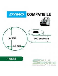 Etichette compatibili Dymo LabelWriter 14681 - diam. 57 mm - bianco - S0719250 (pz.1x160)