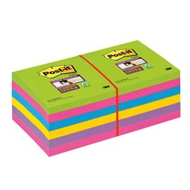 Post-it® Super Sticky Ultracolor -76x76mm-turchese,malva,girasole,fucsia,lime- 654-12SSUC (conf.12)