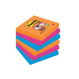 Post-it® Super Sticky colori Bangkok - 76x76 mm - fluo: arancio, rosa, azzurro - 654-6SS-EG (conf.6)