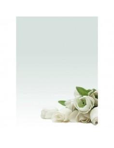 Carta menù inviti Decadry - fiori bianchi - A4 - 90 g - T036126 (conf.20)
