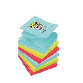 Ricariche foglietti Post-it® Super Sticky Z-Notes - 76x76 mm - : acqua , verde , rosso - R330-6SS-MIA (conf.6)