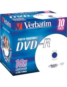 DVD Verbatim - DVD-R - 4,7 Gb - 16x - Printable - Jewel case - 43521