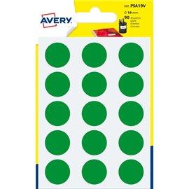 Etichette rotonde in bustina Avery - verde - diam. 19 mm - 15 - PSA19V (conf.6)