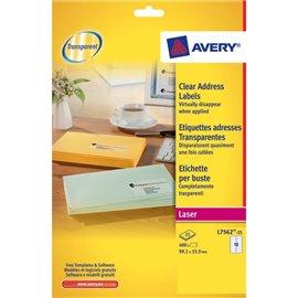 Etichette trasparenti QuickPEEL™ Avery - Laser - 99,1x33,9 mm - 16 et/ff - L7562-25 (conf.25)