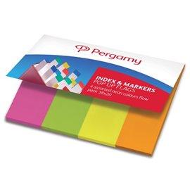 Segnapagina in carta Pergamy - 38x20 mm - neon: arancione, giallo, rosa, verde - 900768