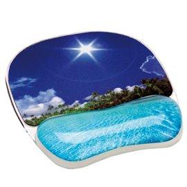 Mousepad con poggiapolsi Photo Gel Fellowes - spiaggia tropicale - 9202601