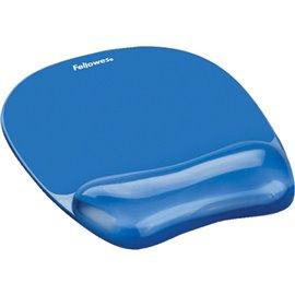 Mousepad con poggiapolsi Crystal Gel Fellowes - azzurro - 23,5x23x1,5 cm - 9114120