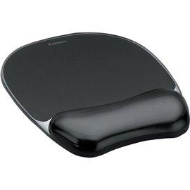 Mousepad con poggiapolsi Crystal Gel Fellowes - nero - 23,5x23x1,5 cm - 9112101
