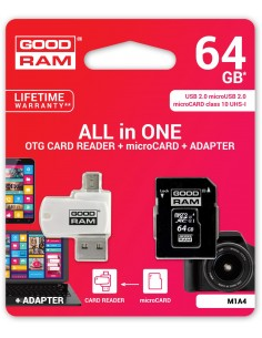 microSD 64GB CARD class 10 + adpter + card reader - blister