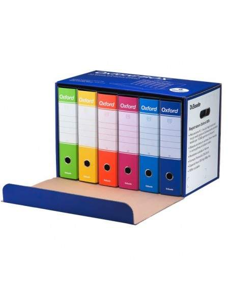 Registratori Esselte Oxford - colori assortiti - dorso 8 cm - 390785110 (conf.6)