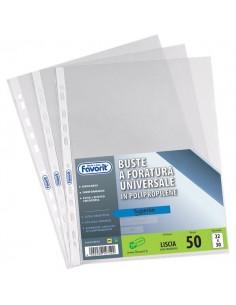 Buste foratura universale Liscio Super Clear Favorit-Strd-banda trasp.-22x30 cm - 100460056 (conf.50)