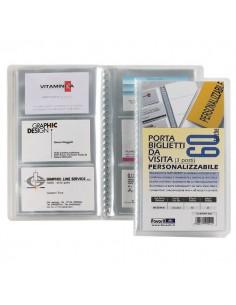 Portabiglietti da visita personalizzabile Favorit- 12,5x20,5 cm - 60 biglietti - trasparente - 100460554