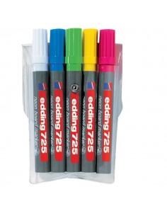 Marcatore per lavagne fluorescente e-725 Edding - assortiti - scalpello - 2-5 mm - 4-725-5 (conf.5)