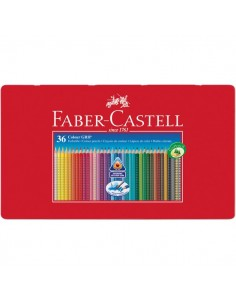 Matite Colorate Acquerellabili Colour Grip Faber Castell - Astuccio Metallo - 112435 (Conf.36)