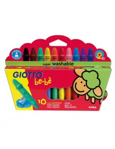 Schoolpack Superpastelli a cera Giotto Be-bè - 5 mm - da 2 anni in poi - 466800 (conf.10)