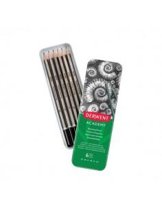Scatola metallo matite in grafite per schizzi Derwent Academy - 3B-2H - 2301945 (conf.6)