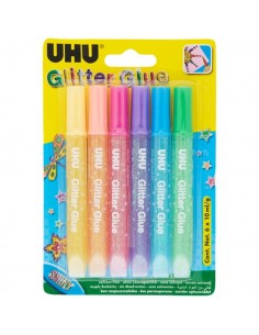 Glitter Glue UHU - Shiny - assortiti - 10 ml - D1552/D1551 (conf.6)