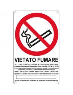 Cartelli segnaletici divieto - vietato fumare con legge - 270x430 mm - E630105X