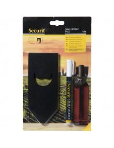 Tag per portabottiglie Securit - 15,4x6,5x0,1cm - nero - TAG-BO-WT (conf.10)