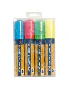 Pennarelli A Gesso Liquido Securit - 7-15 mm - Blu, Giallo, Rosso E Verde - SMA720-V4 (Conf.4)