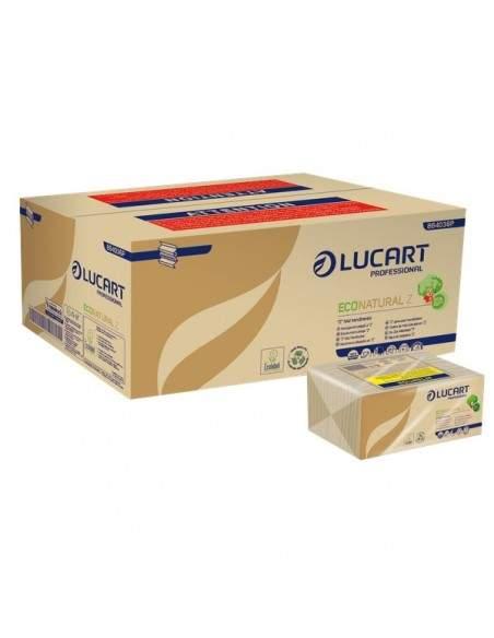 Asciugamani intercalati Lucart - Z - 23x23,5 cm - ecologica naturale - 2 veli - 864036 (conf.220)