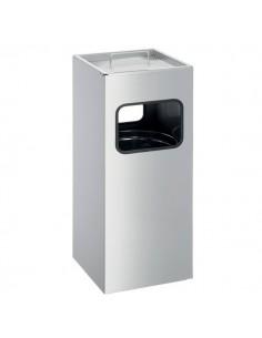 Posacenere In Metallo Con Sabbia Durable - Metal Bin - Quadrato - Argento - H 62 - L 25 cm - 3331-23
