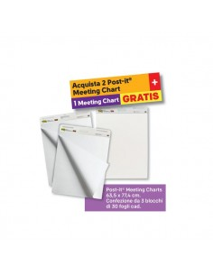 Value Pack Post-it® Meeting Chart - 2+1 Post-It - bianco - 77,5x63,5 cm - 559 value pack 2+1 (conf.2+1)