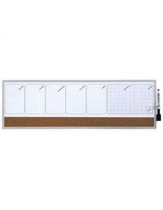 Planning magnetico settimanale Quartet - 19x58,5 cm - bianco/sughero - 1903780