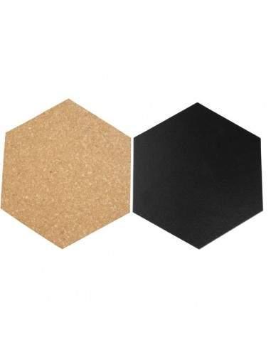 Lavagne esagonali da parete Securit - nero e beige - FB-CB-HEX (conf.7)
