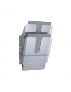 Portadepliant da parete Flexiplus Durable - 2 scomparti - A4 - 24,7x10x36 cm - trasparente - 1709008400