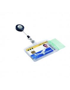 Portabadge doppia tessera Durable - chiocciola con clip - 8,5x5,4 cm - 80 cm - 8224-19 (conf.10)