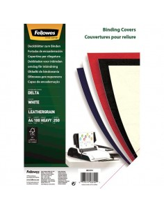 Copertine in cartoncino per rilegatura Fellowes - A4 - goffrato - 250 my - bianco - 5370104 (conf.100)