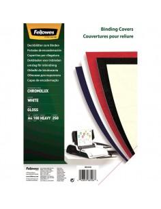 Copertine cartoncino per rilegatura Fellowes - A4 - lucido - 250 my - bianco lucido - 5378006 (conf.100)