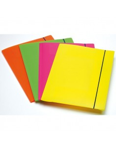 Cartella A 3 Lembi Fluo Con Elastico In Ppl Fellowes - Assortito - 1028001 (Conf.4)